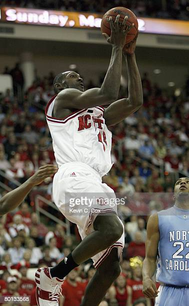 Courtney Fells of the North Carolina State Wolfpack makes a layup against the North Carolina Tar Heels during the game at RBC Center on February 20...