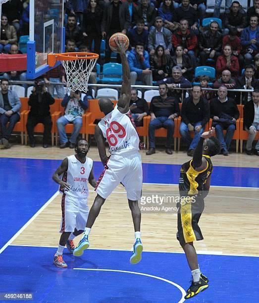 Courtney Fells of Usak Sportif dunks the ball against BC Siauliai during FIBA EuroChallenge Group H basketball match between Usak Sportif and BC...