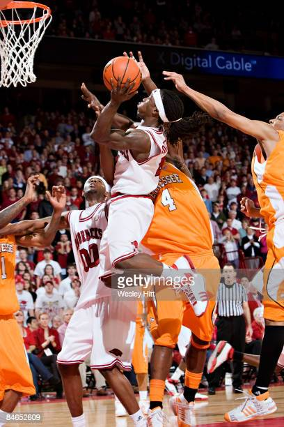 Courtney Fortson of the Arkansas Razorbacks goes in for a layup against the Tennessee Volunteers at Bud Walton Arena on February 4, 2009 in...