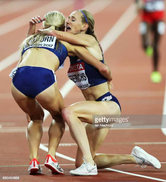 Courtney Frerichs and Emma Coburn of United States celebrate gold and silver in the Women's Steeplechase final during day eight of the 16th IAAF...