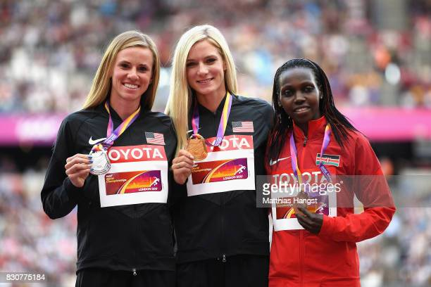 Courtney Frerichs of the United States silver Emma Coburn of the United States gold and Hyvin Kiyeng Jepkemoi of Kenya bronze pose with their medals...
