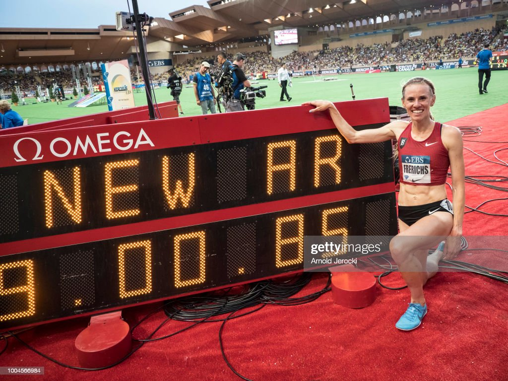 Courtney Frerichs of the US celebrates after her new US record in the women's 3000 metre steeplechase at at the IAAF Diamond League athletics 'Herculis' meeting at The Stade Louis II on July 20, 2018 in Monaco, Monaco.