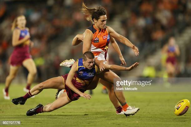 Courtney Gum of the Giants competes for the ball during the round seven AFLW match between the Greater Western Sydney Giants and the Brisbane Lions...