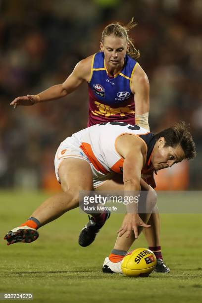 Courtney Gum of the Giants in action during the round seven AFLW match between the Greater Western Sydney Giants and the Brisbane Lions at Blacktown...