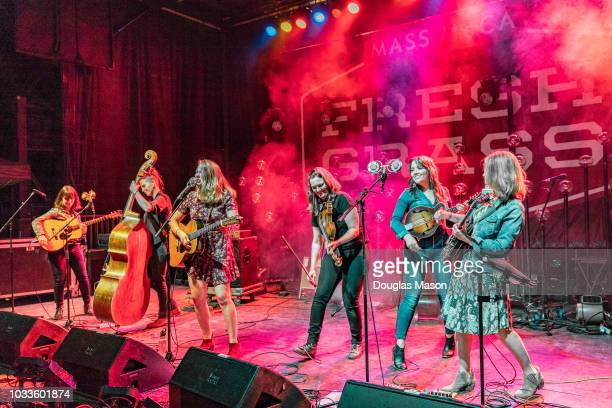 Courtney Hartman Kim Ludiker Celia Woodsmith Shelby Means and Jenni Lyn Gardner of Della Mae and Alison Brown perform during the FreshGrass Music...