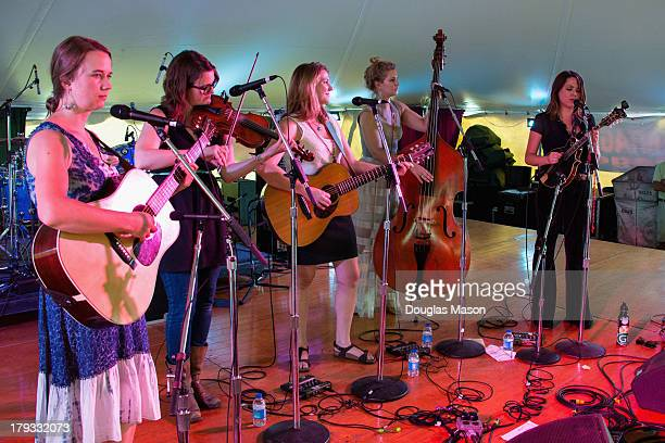 Courtney Hartman Kim Ludiker Celia Woodsmith Shelby Means and Jenni Lyn Gardner of Della Mae perform during the 16th Annual Rhythm and Roots Festival...