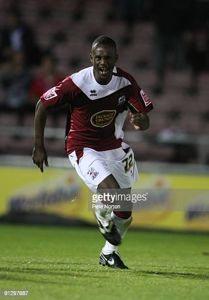 Courtney Herbert of Northampton Town celebrates after scoring his sides second goal during the Coca Cola League Two Match between Northampton Town...