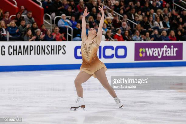 Courtney Hicks competes in the ladies free skate program during the 2019 Geico US Figure Skating Championships at Little Caesars Arena on January 25...