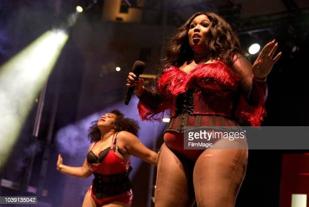 Courtney Hollenquest ammd Lizzo perform on Huntridge Stage during the 2018 Life Is Beautiful Festival on September 23 2018 in Las Vegas Nevada