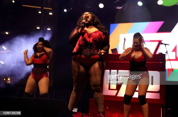 Courtney Hollenquest Lizzo and Grace Holden perform on Huntridge Stage during the 2018 Life Is Beautiful Festival on September 23 2018 in Las Vegas...