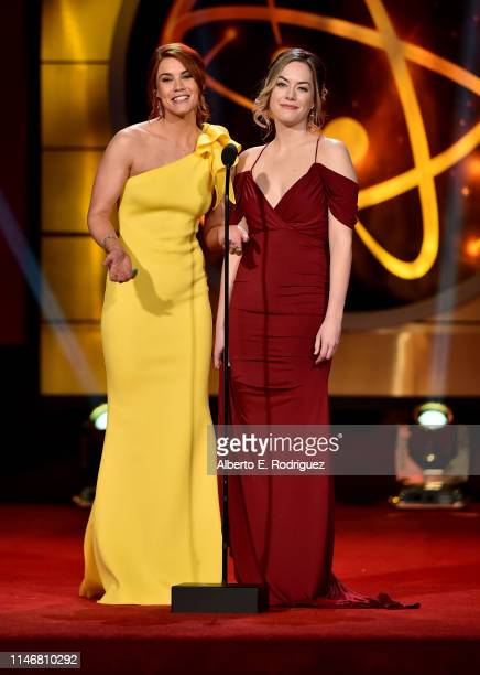 Courtney Hope and Annika Noelle speak onstage during the 46th annual Daytime Creative Arts Emmy Awards at Pasadena Civic Center on May 03 2019 in...