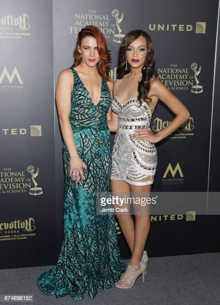 Courtney Hope and Reign Edwards attend the 44th Annual Daytime Creative Arts Emmy Awards Press Room at Pasadena Civic Auditorium on April 28 2017 in...