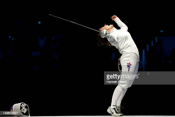 Courtney Hurley of the United States celebrates defeating Anna Sivkova of Russia and winning the Bronze Medal Match 3130 against Russia during the...