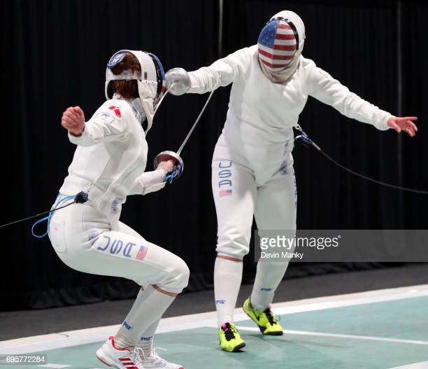 Courtney Hurley of the United States fences teammate and sister Kelley Hurley during the gold medal match in the Women's Epee event on June 13 2017...