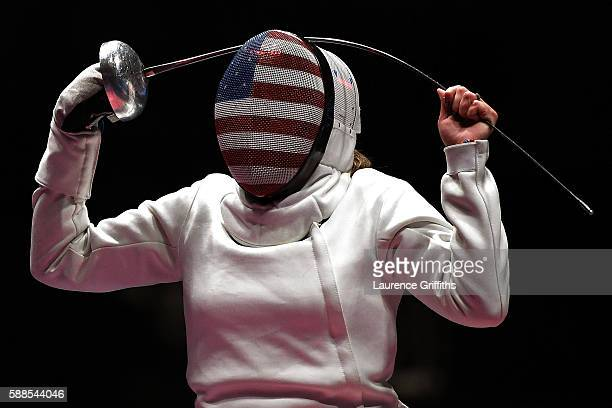 Courtney Hurley of the United States reacts against Injeong Choi of Korea during a Women's Epee Team Placement 56 bout on Day 6 of the 2016 Rio...