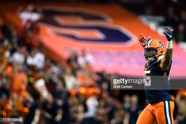 Courtney Jackson of the Syracuse Orange celebrates a sack on third down during the fourth quarter against the Pittsburgh Panthers at the Carrier Dome...