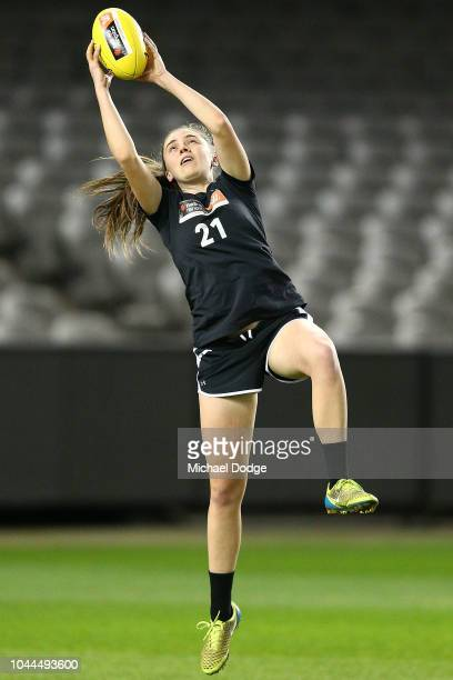 Courtney Jones marks the ball during the AFLW Draft Combine at Etihad Stadium on October 2 2018 in Melbourne Australia