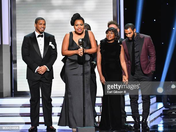 Courtney Kemp Agboh accepts the Outstanding Drama Series award for 'Power' onstage at the 49th NAACP Image Awards on January 15, 2018 in Pasadena,...