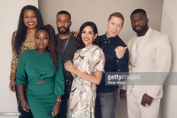 Courtney Kemp Agboh Naturi Naughton Omari Hardwick Lela Loren Joseph Sikora and 50 Cent of Starz's 'Power' pose for a portrait during the 2019 Summer...