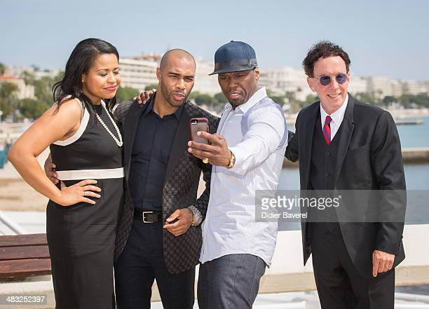 Courtney Kemp Agboh Omari Hardwick Curtis 50 Cent Jackson and Mark Canton pose during the photocall of 'Power' at MIPTV 2014 at Hotel Majestic on...
