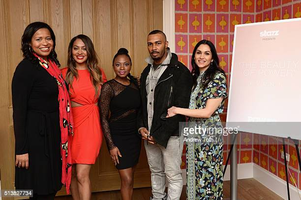 Courtney Kemp La La Anthony Naturi Naughton Omari Hardwick and Lela Loren attend the The Beauty Of Power Event at Crosby Hotel on March 4 2016 in New...