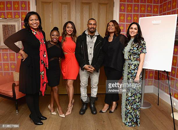 Courtney Kemp, Naturi Naughton, La La Anthony, Omari Hardwick, Anita Gibson and Lela Loren attend the The Beauty Of Power Event at Crosby Hotel on...