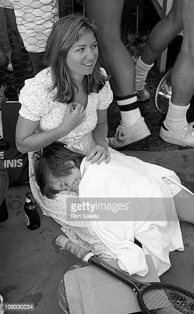 Courtney Kennedy and neice Meaghan Anne Kennedy Townsend attend Robert F Kennedy ProCelebrity Tennis Tournament on August 21 1981 at the Kennedy...
