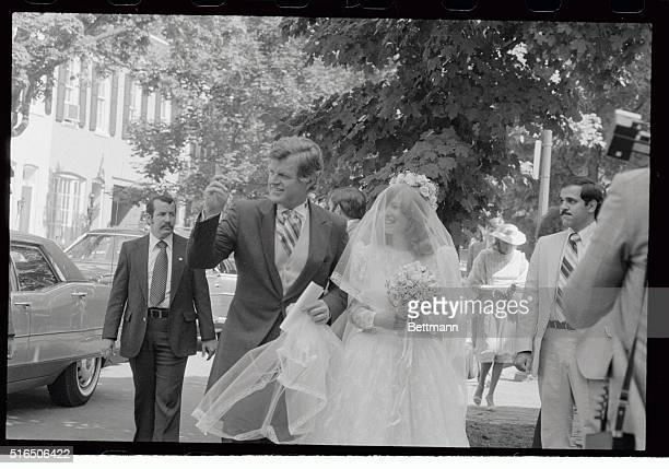 Courtney Kennedy arrives at her wedding with uncle Senator Edward Kennedy at Holy Trinity Church Senator Kennedy gave the bride away to Jeff Ruhe who...