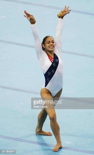 Courtney Kupets of the United States competes in the floor excersize at the women's artistic gymnastics team final competition on August 17 2004...