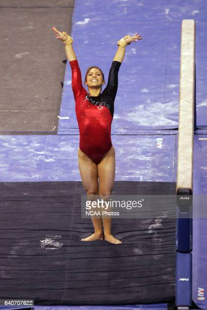Courtney Kupets of the University of Georgia competes on the balance beam during the Division I Women's Gymnastics Championship held at the Bob...
