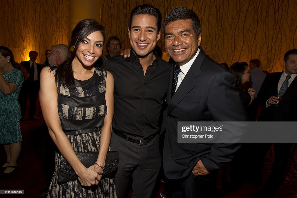Courtney Laine Mazza, Mario Lopez and George Lopez celebrate their favorite destination at the LA premiere of 'Mexico: The Royal Tour' at JW Marriott Los Angeles at L.A. LIVE on September 21, 2011 in Los Angeles, California.