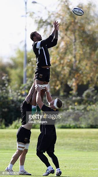 Courtney Lawes catches the ball during the Northampton Saints training session held at Franklin's Gardens on October 19 2016 in Northampton England