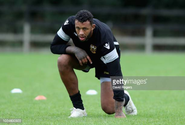 Courtney Lawes looks on during the Northampton Saints training session held at Franklin's Gardens on August 28 2018 in Northampton England