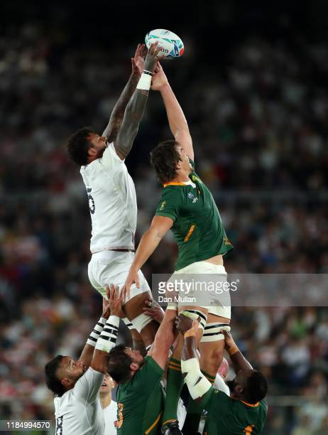 Courtney Lawes of England and Eben Etzebeth of South Africa compete for the ball in a lineout during the Rugby World Cup 2019 Final between England...