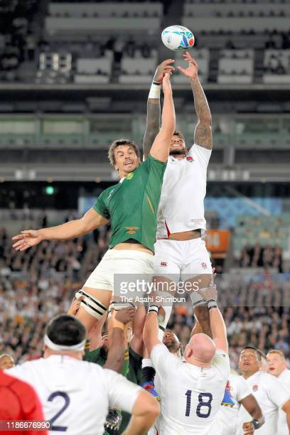 Courtney Lawes of England and Eben Etzebeth of South Africa compete for the ball at a line out during the Rugby World Cup 2019 Final between England...