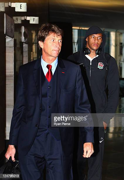 Courtney Lawes of England and England Team lawyer Richard Smith leave a tribunal hearing into an incident during Saturday's IRB Rugby World Cup 2011...
