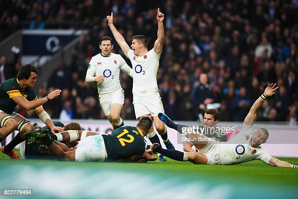 Courtney Lawes of England scores his team's second try during the Old Mutual Wealth Series match between England and South Africa at Twickenham...