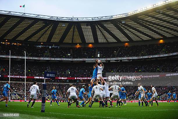 Courtney Lawes of England wins the Italian line out towards the end of the match during the RBS Six Nations match England and Italy at Twickenham...
