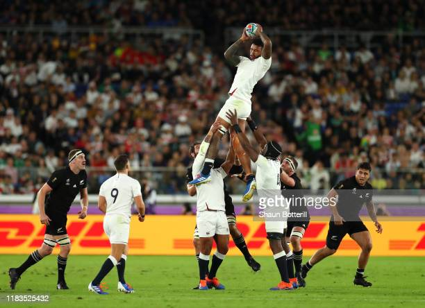 Courtney Lawes of England wins the line out ball during the Rugby World Cup 2019 SemiFinal match between England and New Zealand at International...