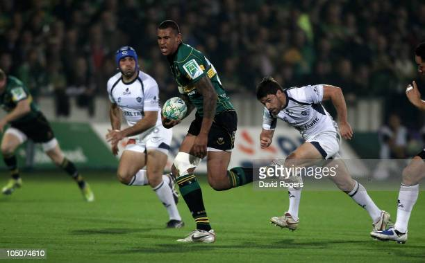 Courtney Lawes of Northampton charges upfield during the Heineken Cup match between Northampton Saints and Castres Olympique at Franklin's Gardens on...