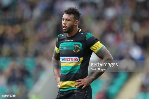 Courtney Lawes of Northampton looks on during the Aviva Premiership match between Northampton Saints and Harlequins at Franklin's Gardens on...