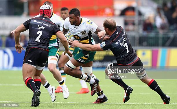 Courtney Lawes of Northampton runs with the ball during the Aviva Premiership match between Saracens and Northampton Saints at Allianz Park on...