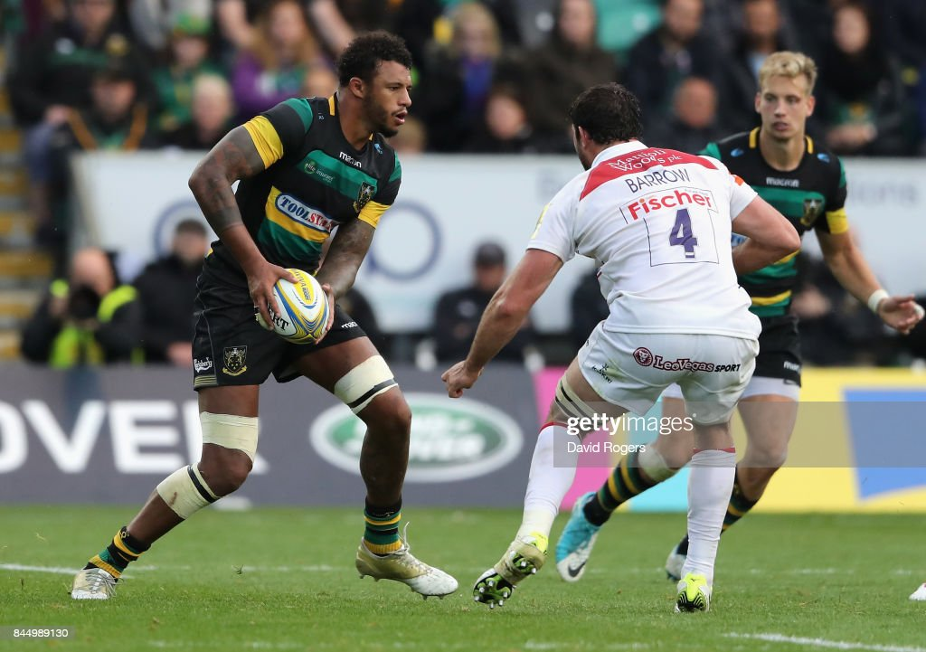 Courtney Lawes of Northampton runs with the ball during the Aviva Premiership match between Northampton Saints and Leicester Tigers at Franklin's Gardens on September 9, 2017 in Northampton, England.
