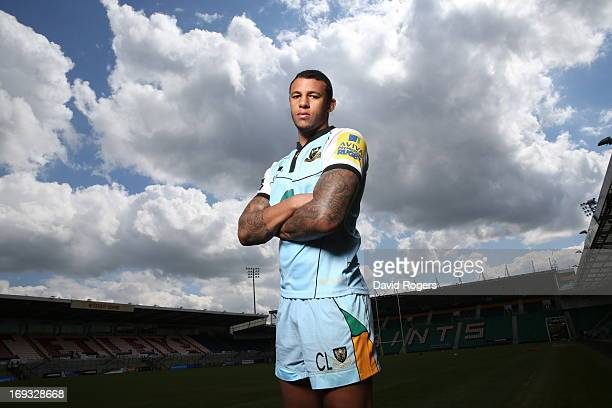 Courtney Lawes of Northampton Saints poses on May 16 2013 at Franklin's Gardens in Northampton England