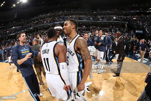 Courtney Lee and the Memphis Grizzlies celebrates after hitting the game winning shot against the Sacramento Kings on November 13 2014 at FedEx Forum...