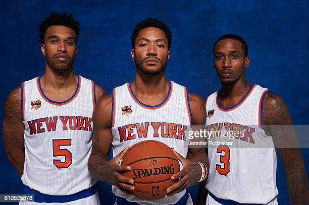 Courtney Lee Derrick Rose and Brandon Jennings of the New York Knicks pose for a portrait during media day at the Ritz Carlton in White Plains New...