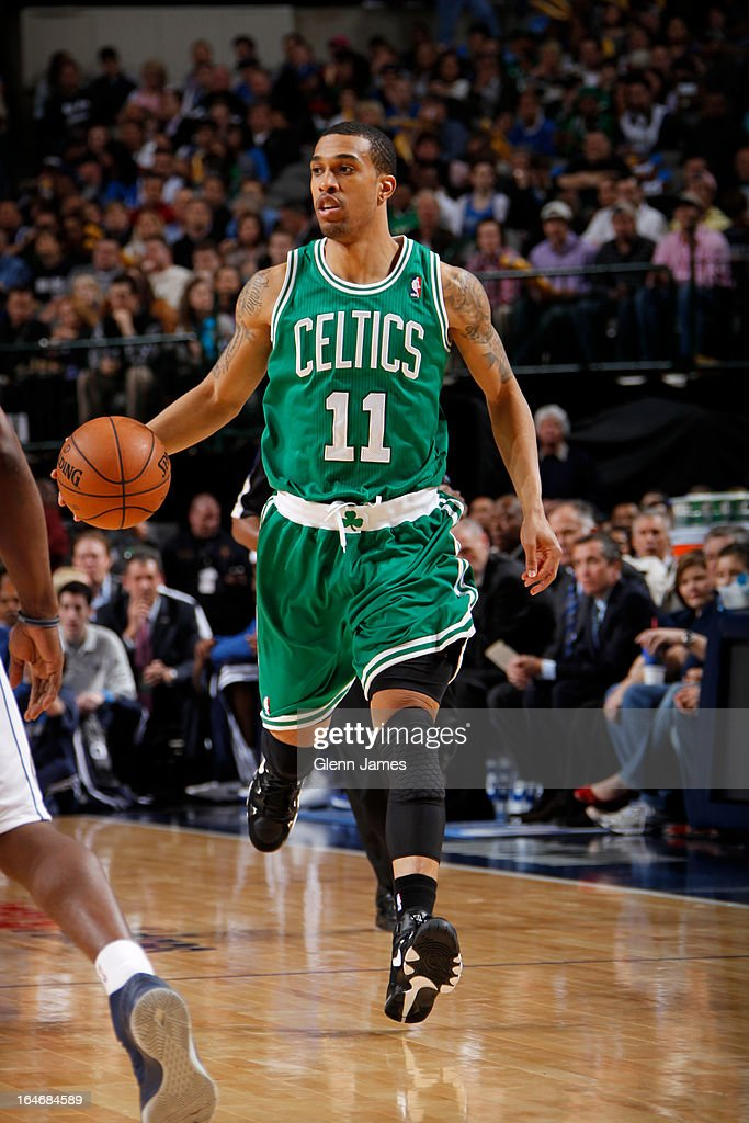 Courtney Lee #11 of the Boston Celtics brings the ball up court against the Dallas Mavericks on March 22, 2013 at the American Airlines Center in Dallas, Texas.