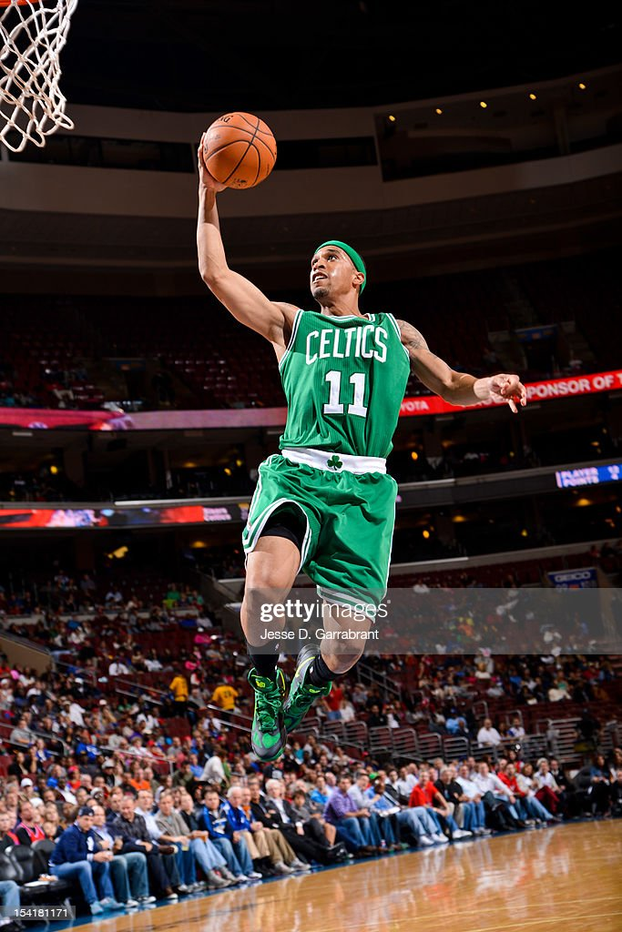 Courtney Lee #11 of the Boston Celtics goes to the basket against the Philadelphia 76ers during a pre-season game at the Wells Fargo Center on October 15, 2012 in Philadelphia, Pennsylvania.
