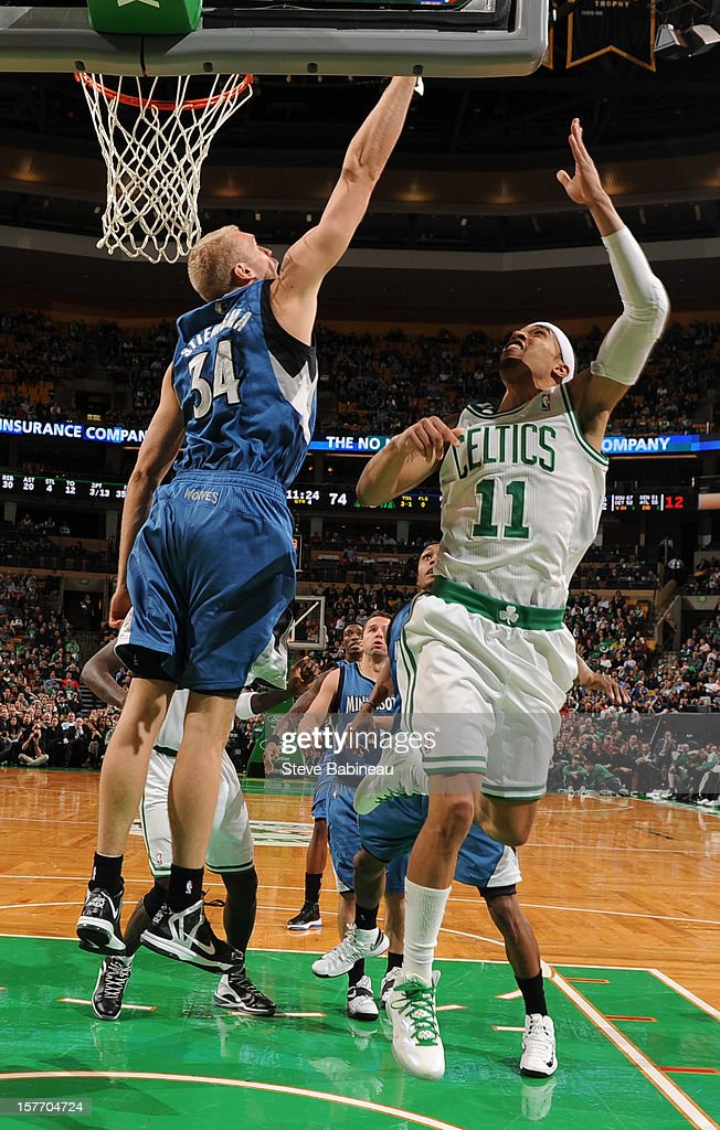 Courtney Lee #11 of the Boston Celtics shoots the ball against Greg Stiemsma #34 of the Minnesota Timberwolves on December 5, 2012 at the TD Garden in Boston, Massachusetts.