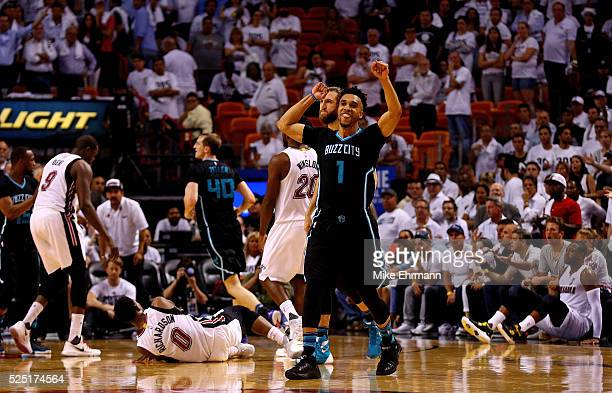 Courtney Lee of the Charlotte Hornets celebrates winning Game 5 of the Eastern Conference Quarterfinals of the 2016 NBA Playoffs against the Miami...